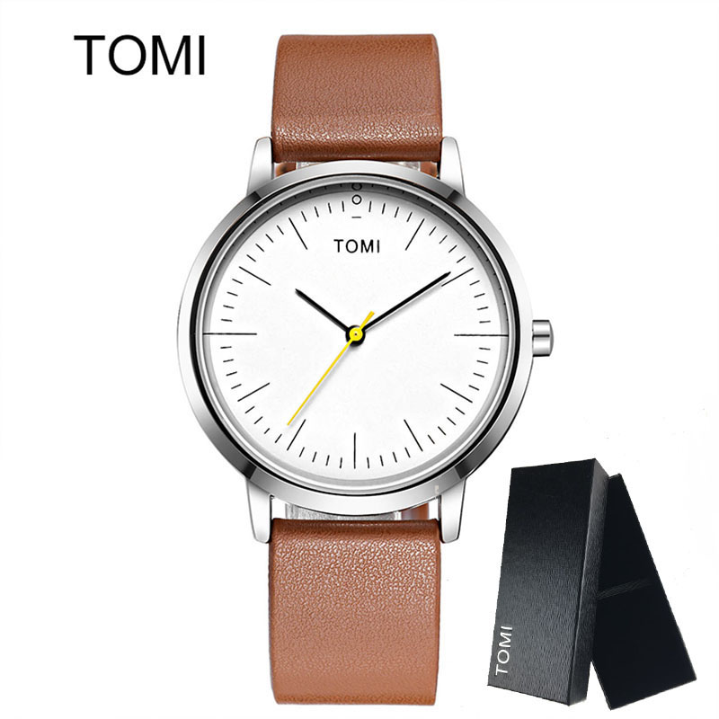 TOMI Men's Watches Woman New Luxury Brand Ultra Thin dial Leather Clock Male Casual Sport Watch Men neutral Quartz Couple watch biden men s watches new luxury brand watch men fashion sports quartz watch stainless steel mesh strap ultra thin dial date clock