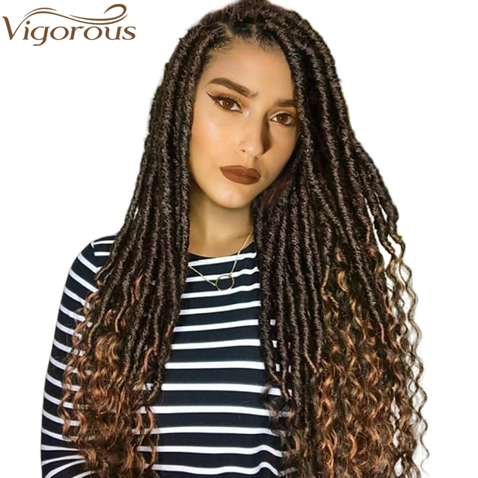 Vigorous Faux Locs Crochet Braids 16 20 Inch Soft Natural Soft Synthetic Hair Extension 24 Stands/Pack Goddess Locks(China)