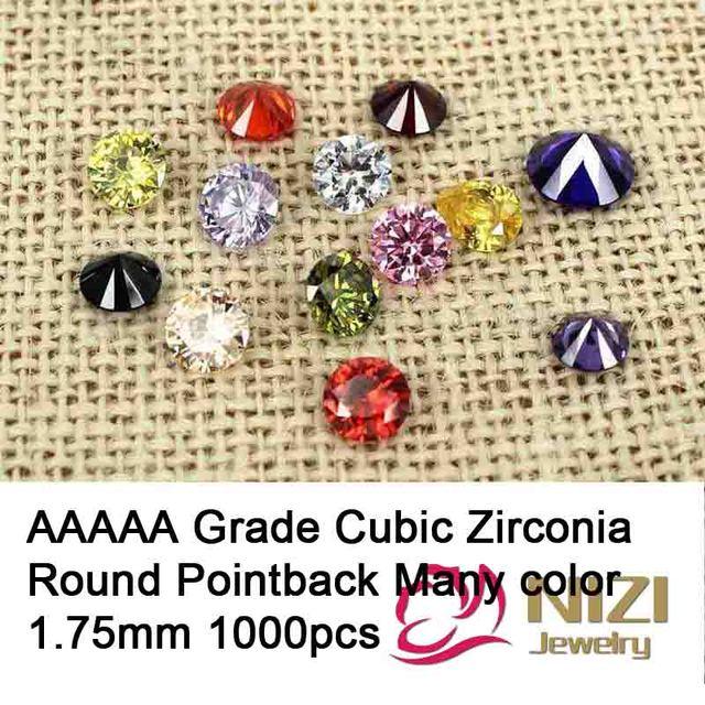 1.75 mm 1000 pcs Cubic Zirconia pedras suprimentos para jóias acessórios AAAAA grau rodada Pointback contas Nail Art DIY decoração