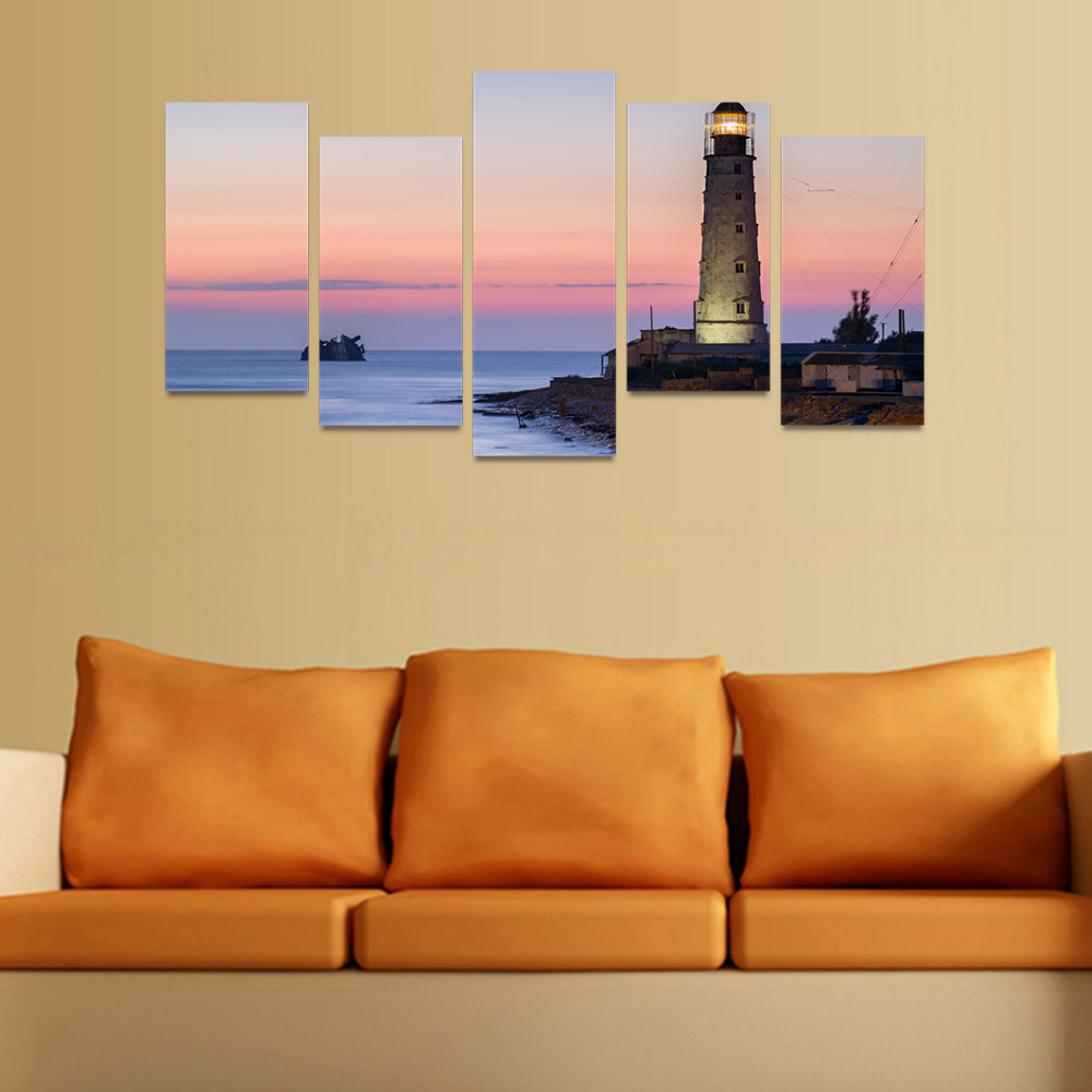 5 Panels Canvas Print Lighthouse Near The Sea Painting for Living ...