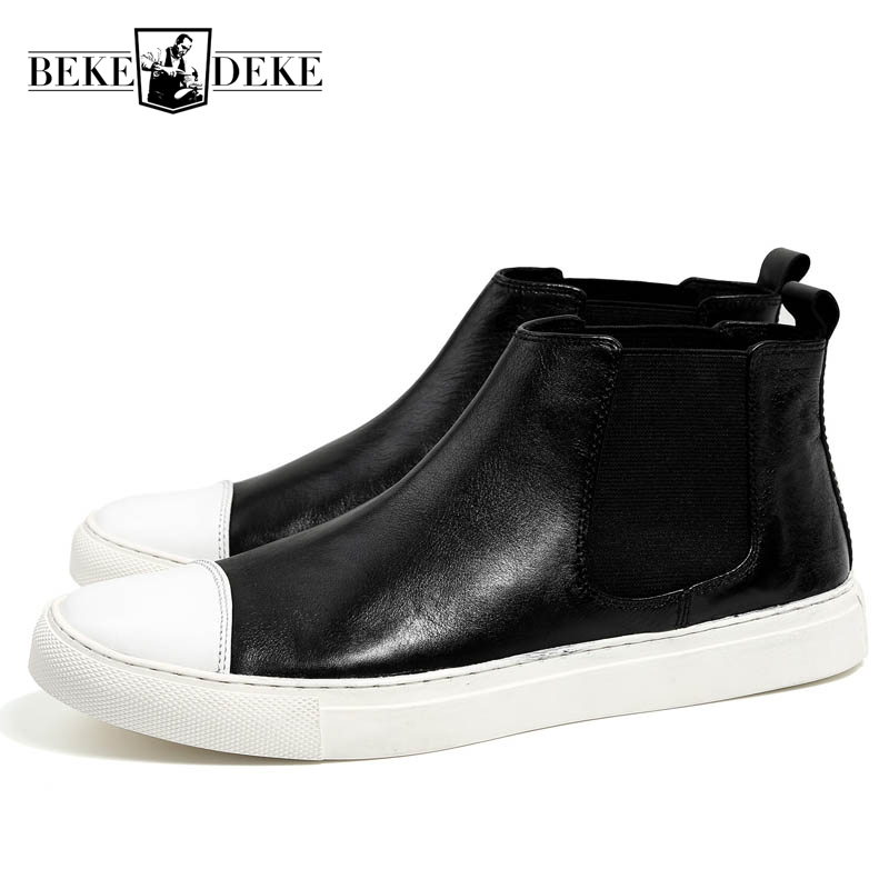 Mens Genuine Leather Cow Slip On Round Toe Winter New Fashion Male Low Heel Chelsea Boots High Quality Brand Chaussure Homme nayiduyun women genuine leather wedge high heel pumps platform creepers round toe slip on casual shoes boots wedge sneakers