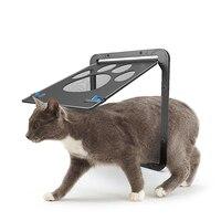 Durable ABS+Nylon Mesh Pet Cat Door For Screen Window Security Flap Gates Cat Fence Free Access Safe Door Cat Fence Outdoor