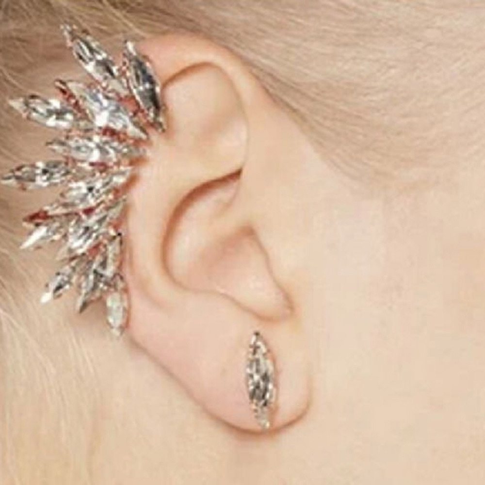Women Gold Plated Rhinestone Crystal Flower Ear Clip Piercing Cuff Earrings Set