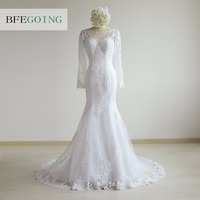 White Tulle Appliques Lace Mermaid Trumpet Wedding Dress Chapel Train Long Sleeves Real Original Photos Custom