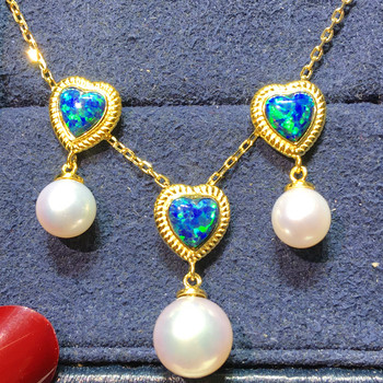one set freshwater pearl near round 9-11mm necklace and earrings amazing