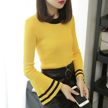 ФОТО autumn spring women knitting full flare sleeve o-neck striped sweaters pullovers girls knitted tops knitwear clothing woman