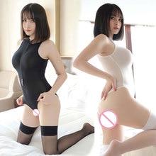 Bodysuit Open-Crotch Zipper Shiny Sexy Women Dance-Wear High-Cut See-Through Bust Smooth
