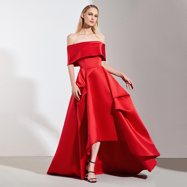Tanpell red evening dress off the shoulder floor length a line gown women  wedding party plus formal long custom evening dresses 4fdce25a2869