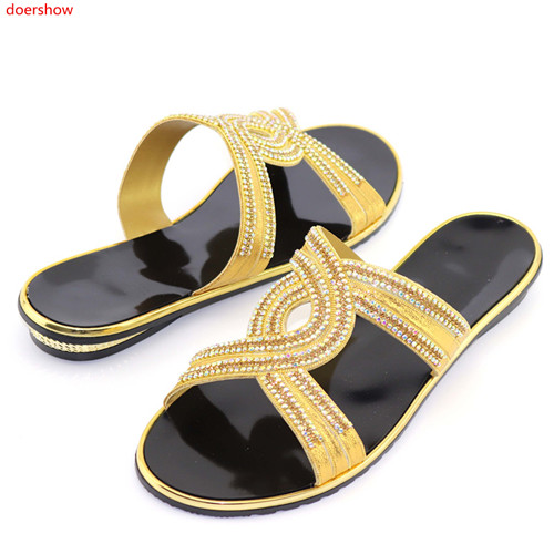 doershow hot selling African sandals high quality slipper summer low heels women shoes HFF1-3doershow hot selling African sandals high quality slipper summer low heels women shoes HFF1-3