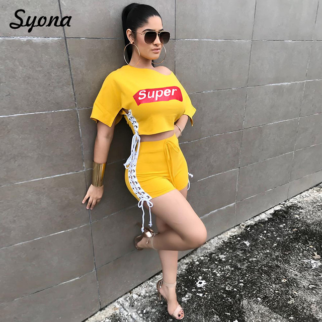 Sexy Matching Outfits Sheer TWO PIECE SET Shorts Bandage Crop Top Women  Clothes 2 Piece Suit Twin Ensemble Femme Summer Yellow 32f810a1d