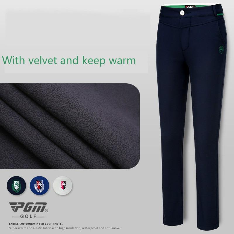 PGM velvet Golf pants lady slim spring pants high elastic sports pants