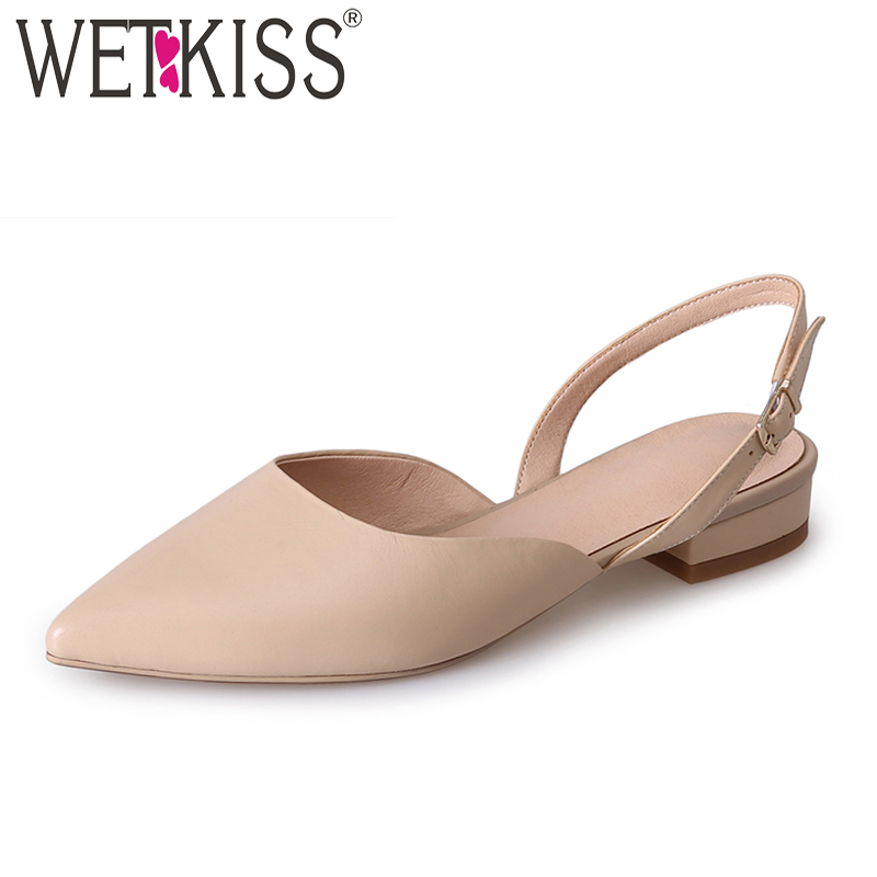 WETKISS 2018 Summer Genuine Leather Sandals Women Pointed Toe Flat Sole Sandals Shoes Slingback Footwear Fashion Female Shoes mvvjke summer women shoes woman genuine leather flat sandals casual open toe sandals women sandals