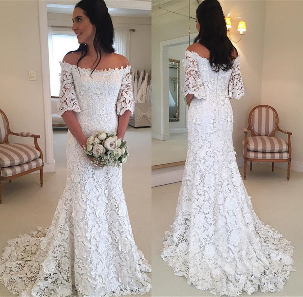 Sexy Off Shoulder Wedding Dresses Mermaid 2018 Half Sleeve Lace Bride Wedding Gowns Vestido De Noiva Robe De Mariee Sweep Train