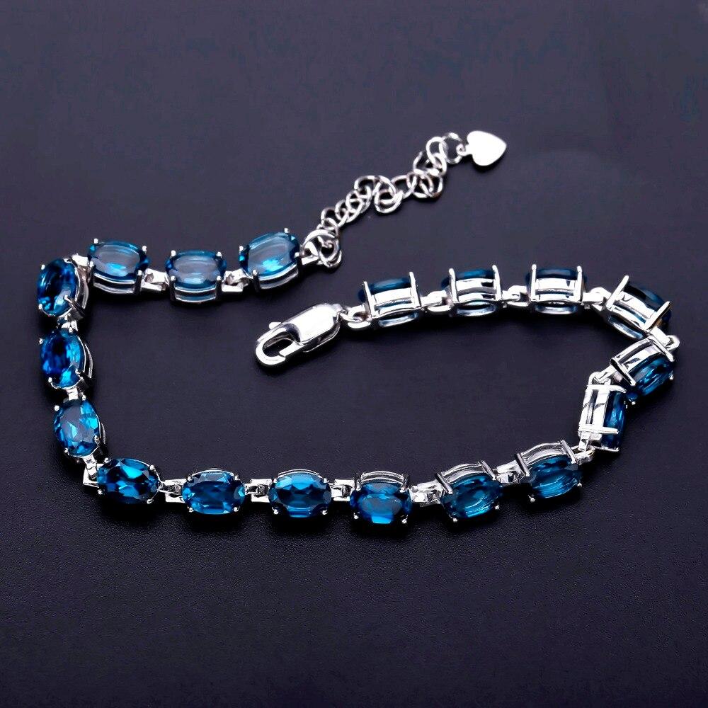 Gem's Ballet 925 Sterling Silver Bracelet 19Ct Natural London Blue Topaz Gemstone Bracelets & Bangles For Women Wedding