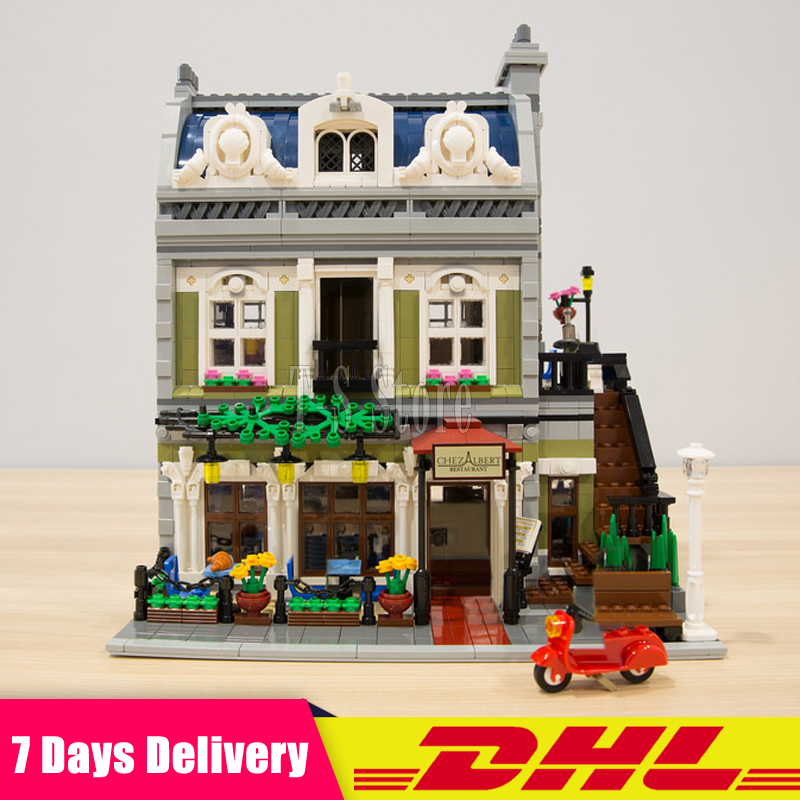 2018 NEW Lepin 15010 Expert City Street Parisian Restaurant Model Building Kits Blocks Funny Children Toys Compatible 10243 dhl new 2418pcs lepin 15010 city street parisian restaurant model building blocks bricks intelligence toys compatible with 10243