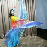 High Quality Stage Performance Props Dance Accessories Egyptian Wings With Sticks Rainbow Color Non Split Isis