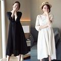 Seven new han edition cotton and linen sundress maternity dress sleeve pregnant women show thin coat lactation