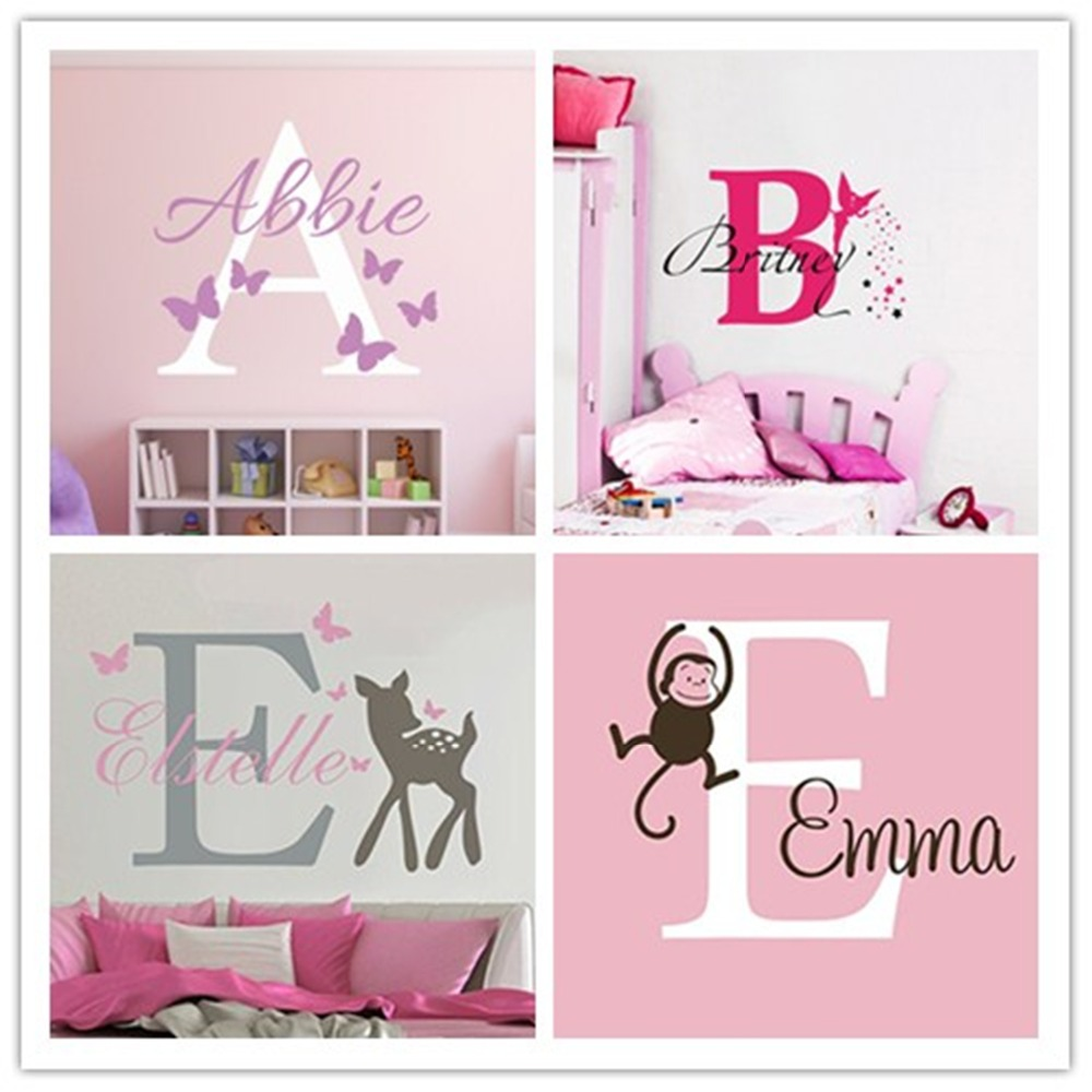 Personalized Name Baby Nursery Room Wall Sticker Custom for Girls and Boys Decal Kids Roon Mural W-27