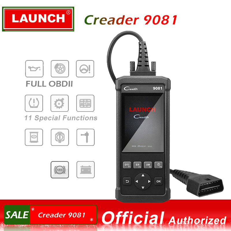 Lancio OBDII Scanner Creader 9081 del lettore di codice Scanner Con Air bag di Reset del Sistema di Gestione Della Batteria CR9081 OBD 2 diagnostico