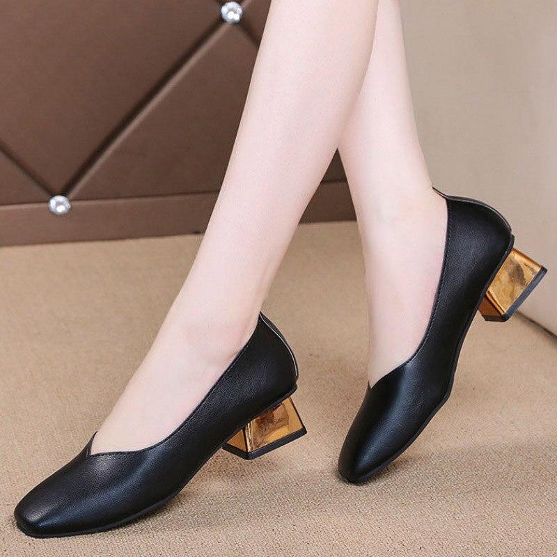 Pumps Gold Shoes Heeled Square Toe Medium-Heels Plus-Size Women Ladies 35-42 Mujer Dress
