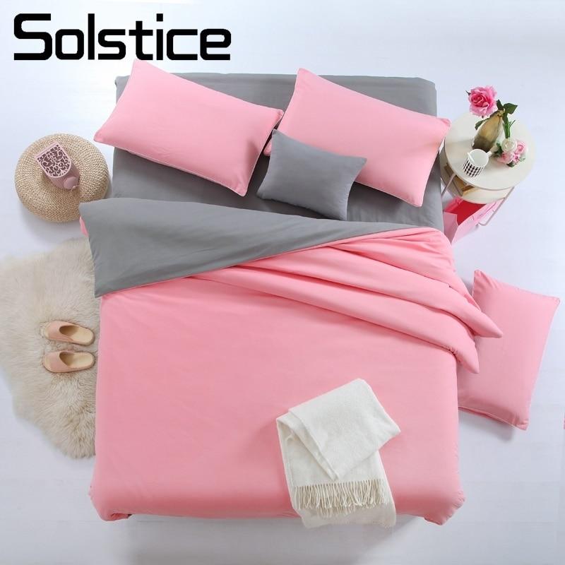 Solstice Home Textile Plain Solid Pink Gray Bedding Suit Pillowcase Flat Sheet Duvet Cover Woman Girl Teen Adult Bed Linen Queen