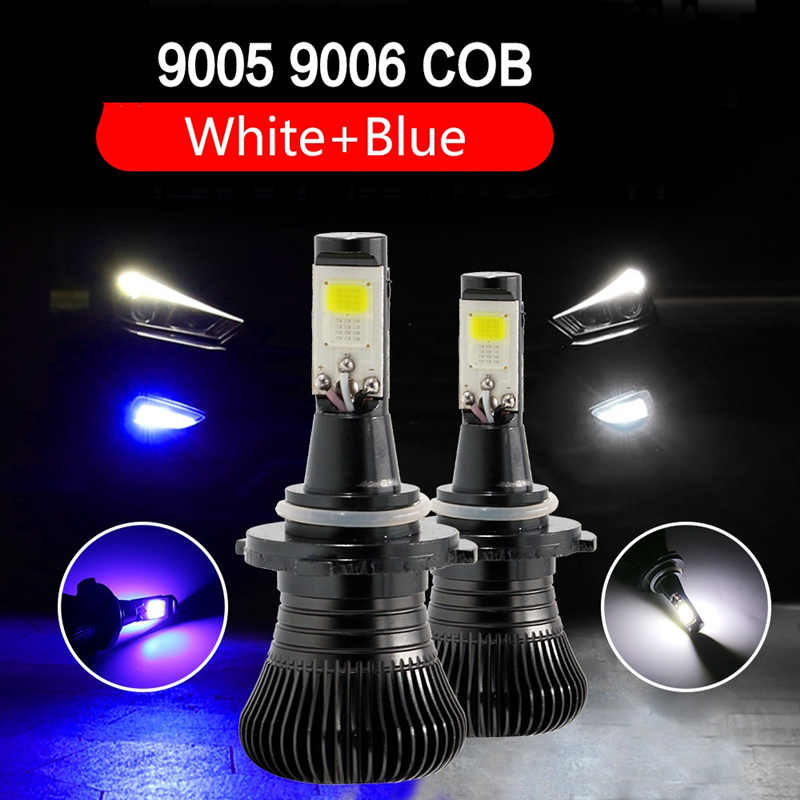 2PC H3 H1 H4  9005 9006 H11 H7 LED Bulbs Dual Color Auto Fog lights Driving DRL Lamp H3 Car lights White Yellow Ice blue