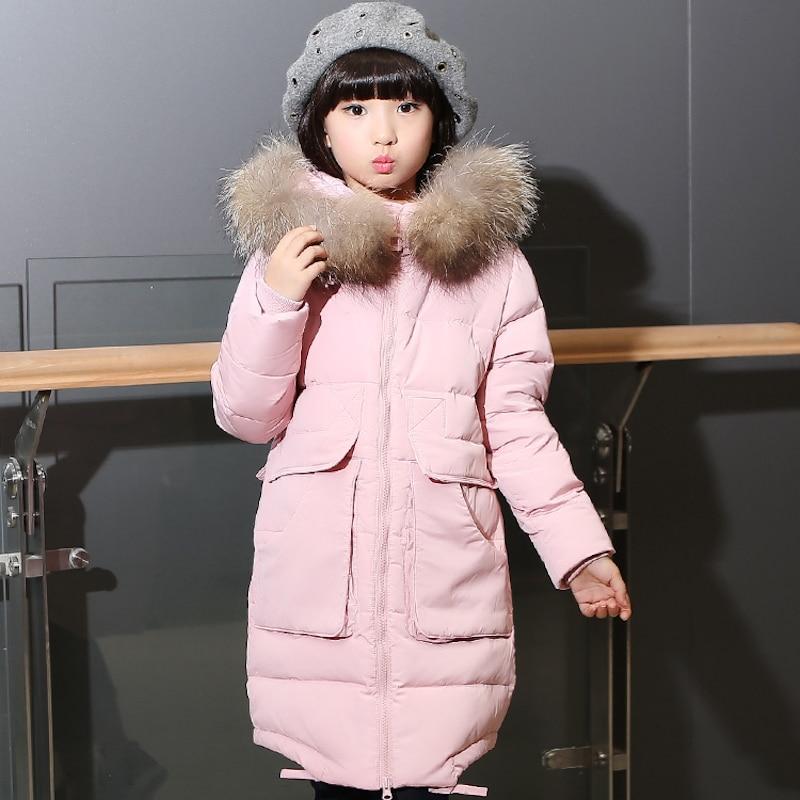 ФОТО 2016 new girls down jacket for girl coat winter thicken fur collar children's detachable kids cap outerwear long overcoat parka