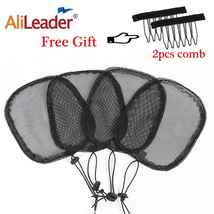 S/M/L Black Adjustable Strap On The Back Wig Caps For Making Ponytail Net Guleless Hairnet Afro Hair Bun Net For Women 2Pcs