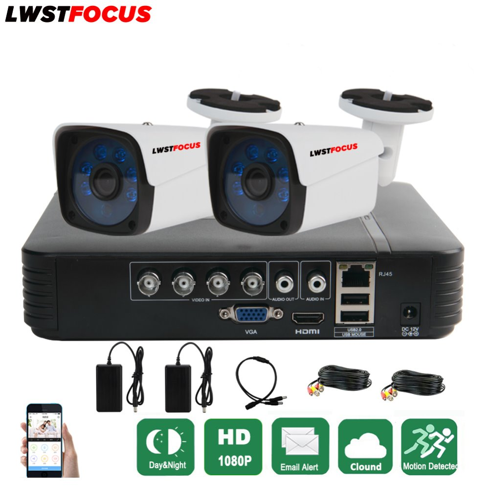 LWSTFOCUS 4CH CCTV System 1080P AHD 1080N DVR 2PCS 3000TVL IR Waterproof Outdoor Security Camera Home Video AHD Surveillance kit new style a5x plus 8 second boot android 7 1 tv box rk3328 quad core 1gb 8gb smart mini media player 2 4g wifi 4k