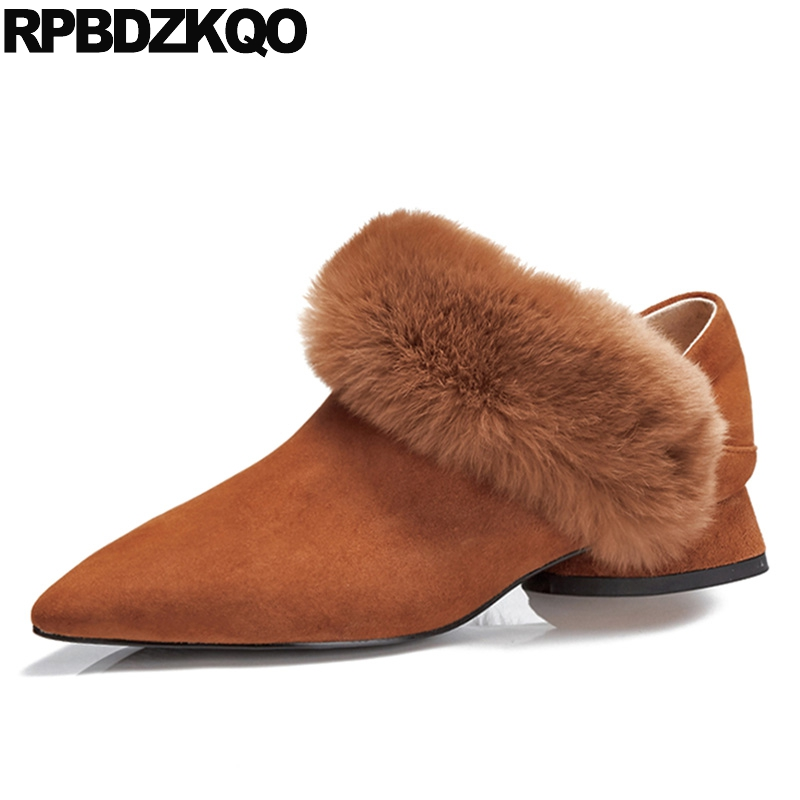 Strange Pumps Pointed Toe Slip On Unique Brown Ladies Low Heels Shoes Fur Women Suede Thick Size 4 34 New Chinese China Fashion 2017 women strange autumn brown abnormal evening pointed toe blue catwalk high heels pumps size 4 34 stiletto medium fashion new