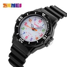 лучшая цена SKMEI Children Sport Quartz Watch Waterproof boys Hour girls Student Watches PU Strap Jelly Kids Clock Fashion Wristwatch 1043