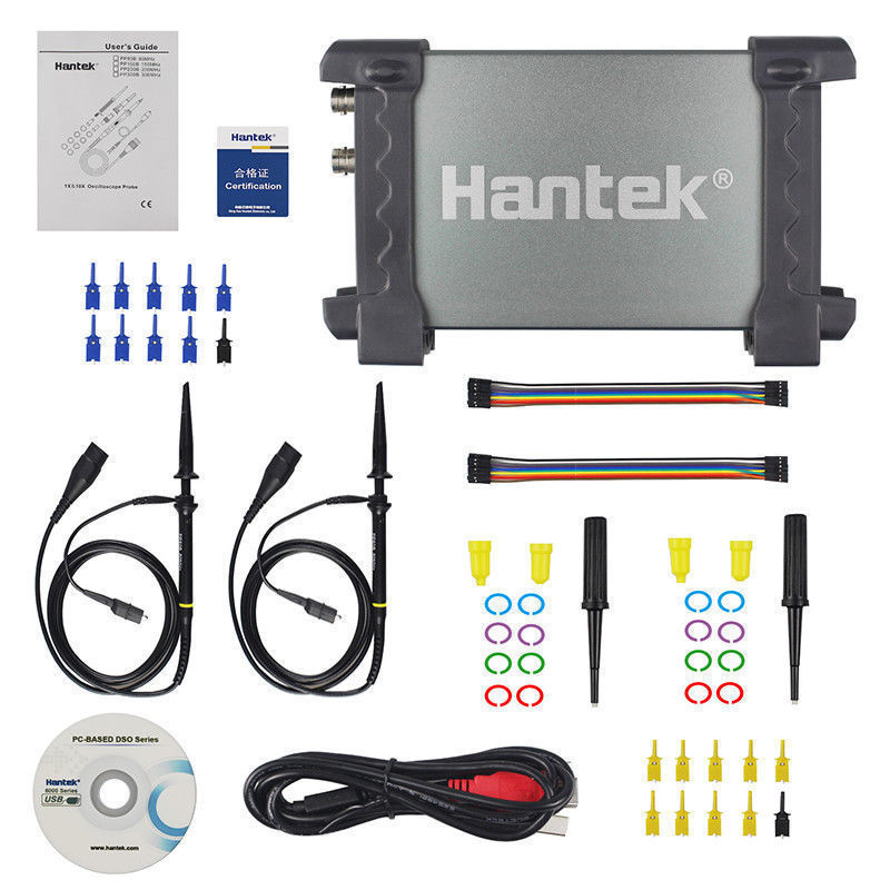 Hantek 6022BL PC USB Portable Logic Analyzer Digital Oscilloscope Handheld Digital 2 Channels 20MHz 48MSa/s Storage Multifunctio digital portable logic analyzer car detector 6022bl usb oscilloscopes 20mhz 48msa s portatil pc 16 channels shipping from ru