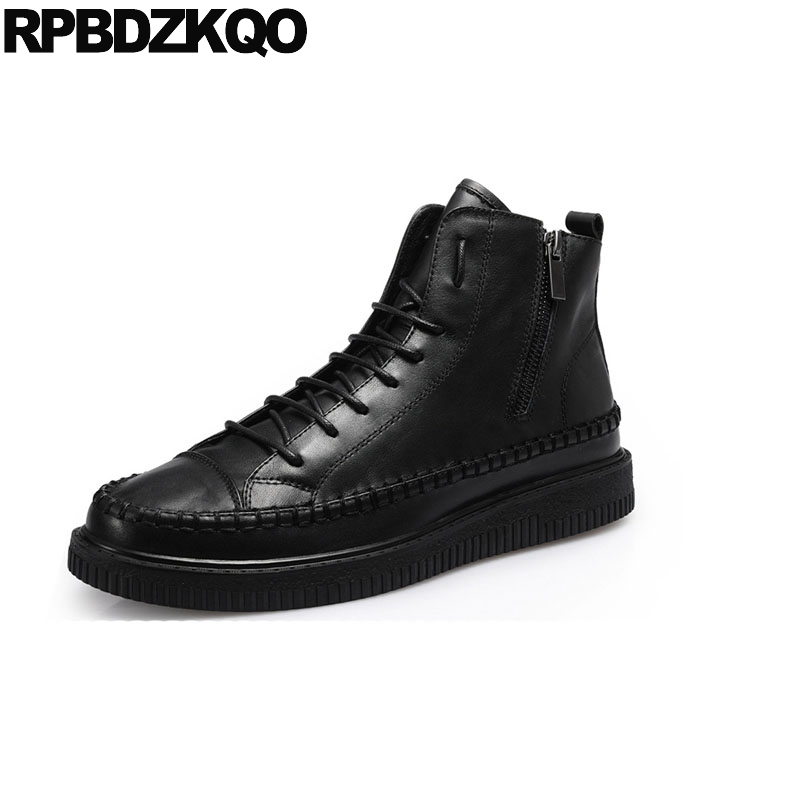 comfortable fall trainer black genuine leather full grain mens winter boots warm shoes high top casual quality faux fur sneakers black super warm winter boots russian style full grain men fashion trainer sneakers high top genuine leather booties fur shoes