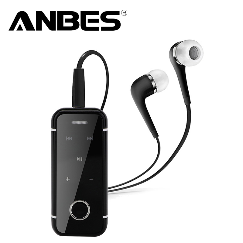 ANBES Lavalier Mini Clip Bluetooth Headset Stereo Music Wireless Headphone Earphone Clamp Collar with Mic For Xiaomi iPhone PC rock y10 stereo headphone earphone microphone stereo bass wired headset for music computer game with mic