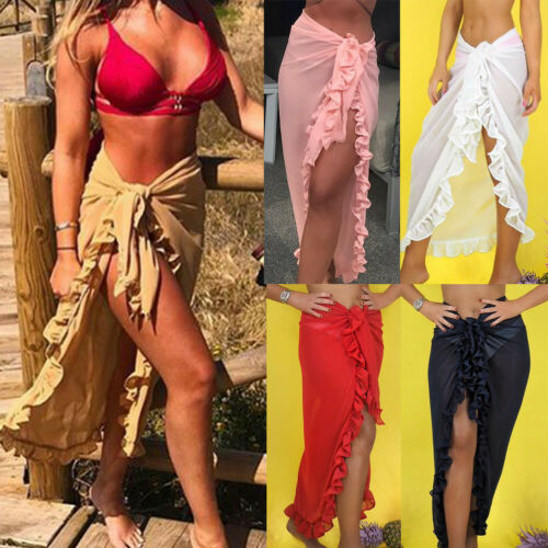 Summer Women High Waist Beach Bikini Cover Up Wrap Scarf Swimwear Pareo Sarong Dress Beachwear Swimming Costume