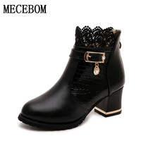 Womens Boots Autumn Winter 2016 Fashion Lace Hollow Out Ladies Shoes Woman Leather Sexy Ankle Boots