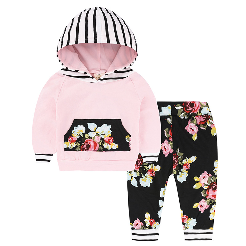 2017 New Arrival Baby Clothes 2 Pcs. Hoodies T-shirts + Floral Legging Pants Bebes Cloting Set for Girls Infant Suit
