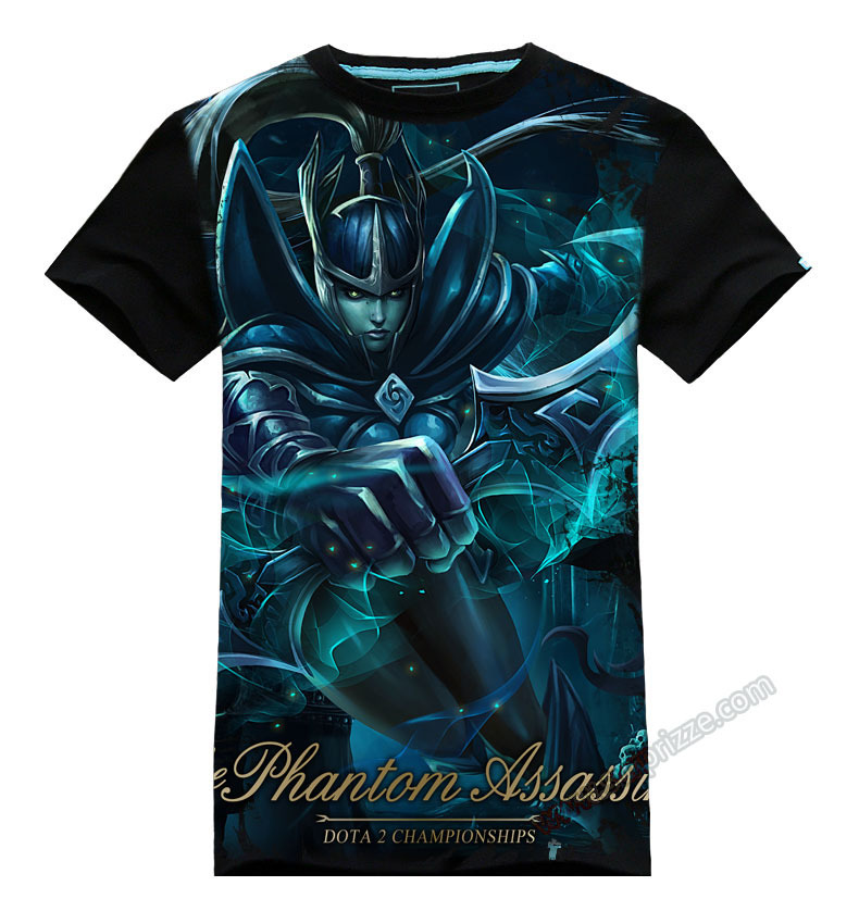 New Desighn 3D DOTA 2 Hero Tee Phantom Assassin Black T-shirts