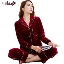 2765d7576 Fdfklak terciopelo de oro de alta calidad Otoño Invierno mujer Pijamas ropa  de dormir familia pijamas