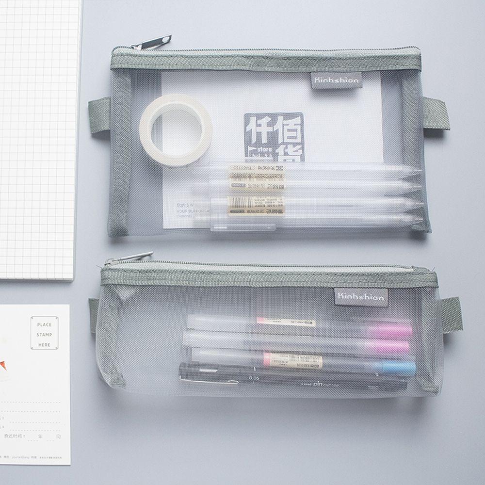 Simple Transparent Mesh Pencil Case Office Student Pencil Cases Nylon Kalem Kutusu School Supplies Pen Box Student Gift