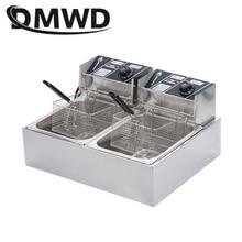 DMWD коммерческий двойной масляный цилиндр электрическая фритюрница машина для жарки картофеля фри печь горячий горшок жареная курица гриль ЕС США вилка