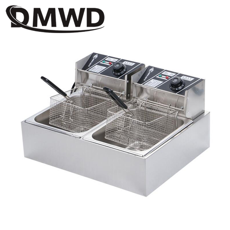 DMWD Commercial Double Oil Cylinder Electric Deep Fryer French Fries Frying Machine Oven Hot Pot Fried Chicken Grill EU US Plug