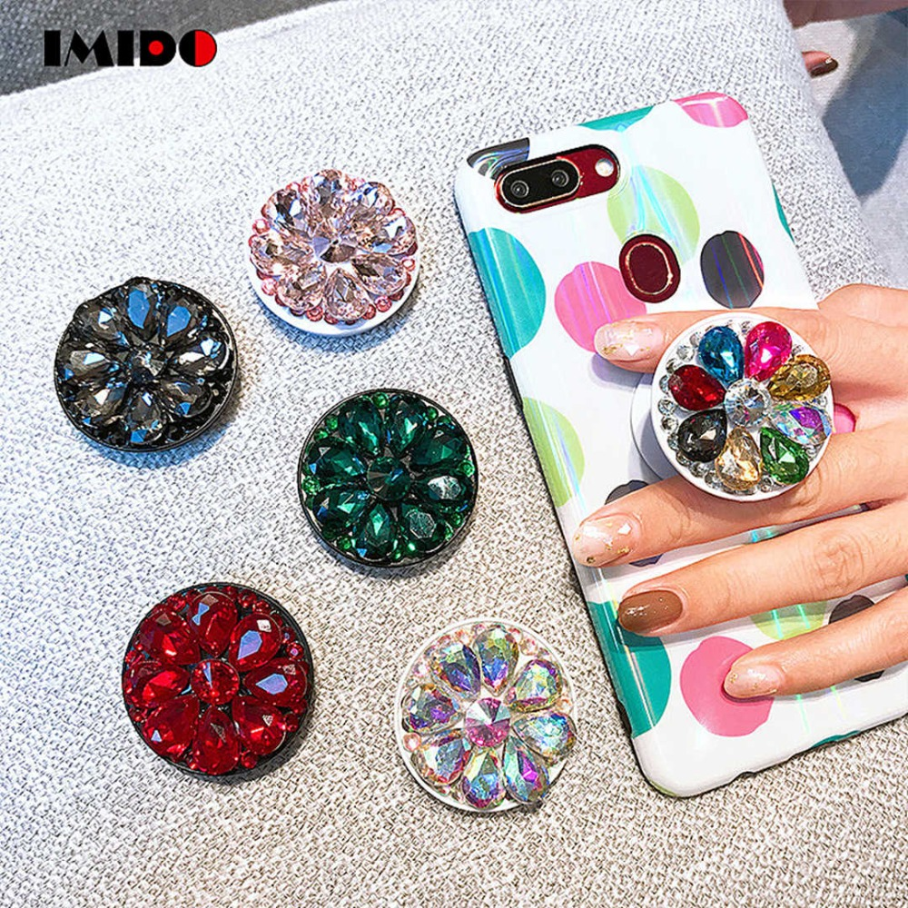 IMIDO Finger Ring Phone Holder Bling Air Bag Diamond SmartPhone Stander For iPhone  Samsung Universal Cell 4f83520d3488