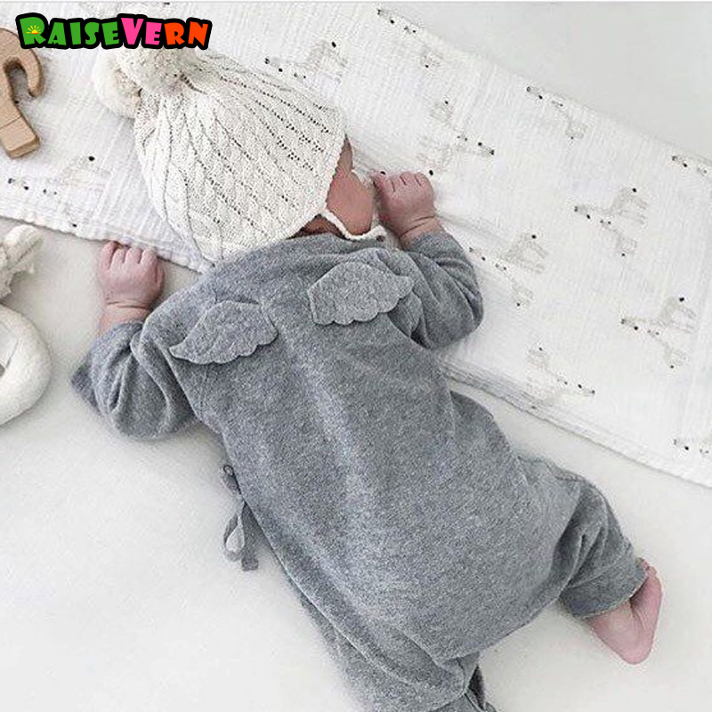 Newborn Long Sleeve Cotton Rompers Baby Girl Boy Lace Up Kimono Adjustable Kids Cute 3D Little Wings Infant Jumpsuit newborn cotton cute white with loving heart baby rompers long sleeve soft colorful toddler baby boy girl clothes kids jumpsuit