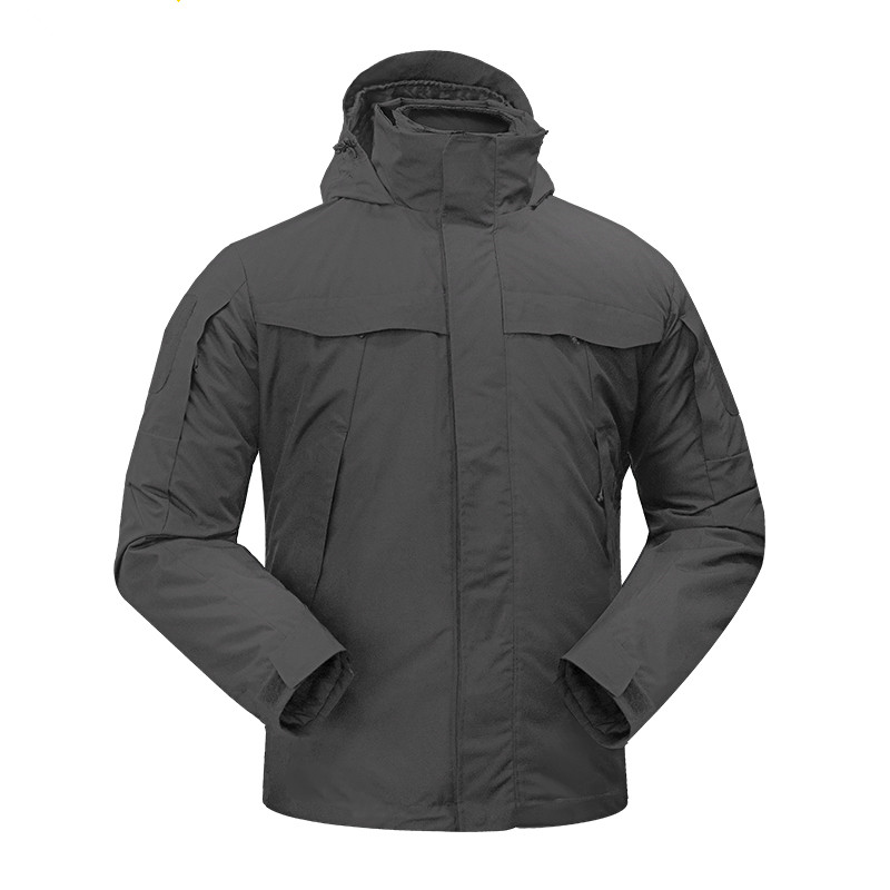 Outdoor waterproof thick warm hooded coat + liner 2 pcs set winter training cycling climbing thermal tactical jacket 3 in 1 tops winter outdoor tactical military training windbreaker hooded coat outwear men s hiking climbing cotton warm waterproof jacket