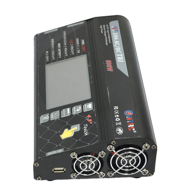 "HTRC HT206 AC/DC TRI 200W*3 20A*3 Triple Port 4.3"" Color LCD Touch Screen RC Balance Charger for Lilon/LiPo/LiFe/LiHV Battery"