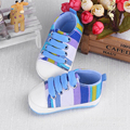 2016 Fashion High Quality Baby Shoes Girls Boy Rainbow Canvas Shoes Soft Prewalkers Casual Unisex Plaid Lace-Up T-tied Style