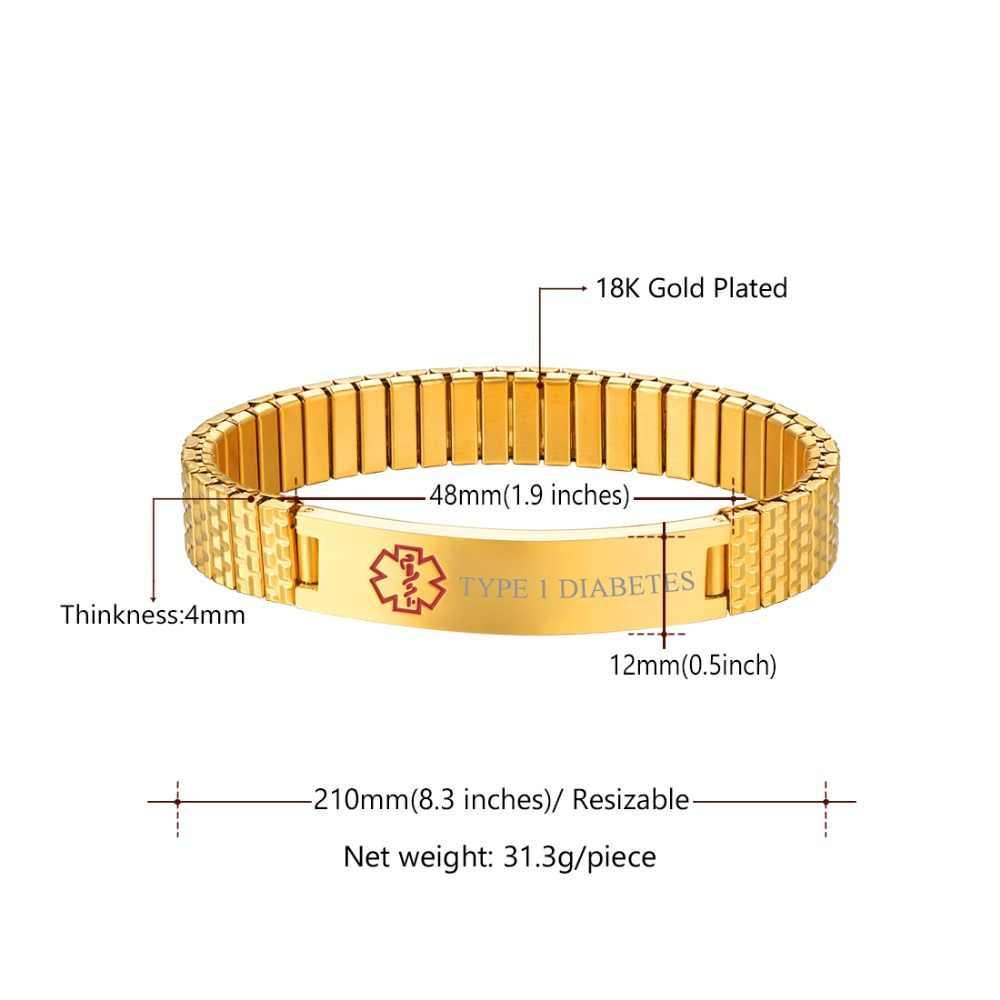 U7 Stainless Steel Medical Alert ID Bracelets Men Women  Jewelry Gifts Adjustable Size Emergency Bracelet Tag, 8.3 inches H1082