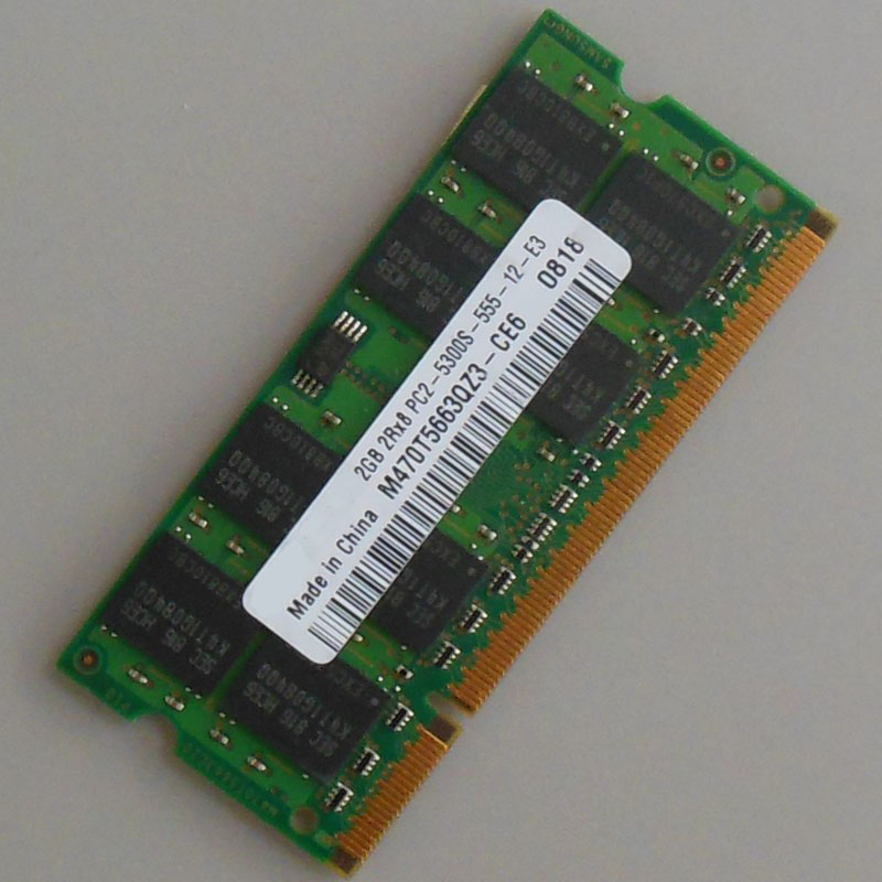 DDR2 2GB PC2-5300S DDR2-667 667Mhz DDR2 Laptop Memory CL5.0 SODIMM 2RX8 RAM Non-Ecc 200pin Notebook Low density