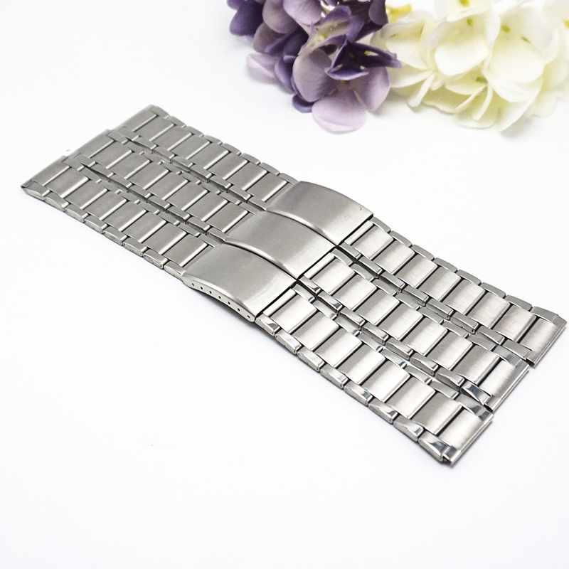 Stainless steel Metal watch straps 22mm watchbands22mm 2017 new 3 Folding buckle watchband 22MM banda de